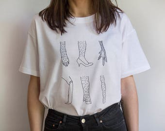 T-shirt White 'types of feet' made with textile marker