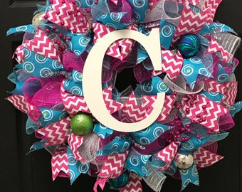 Pink and Turquoise Wreath