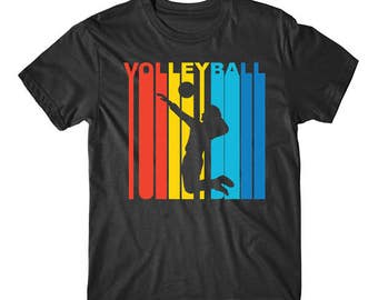 Retro 1970's Style Volleyball Player Silhouette Sports Shirt