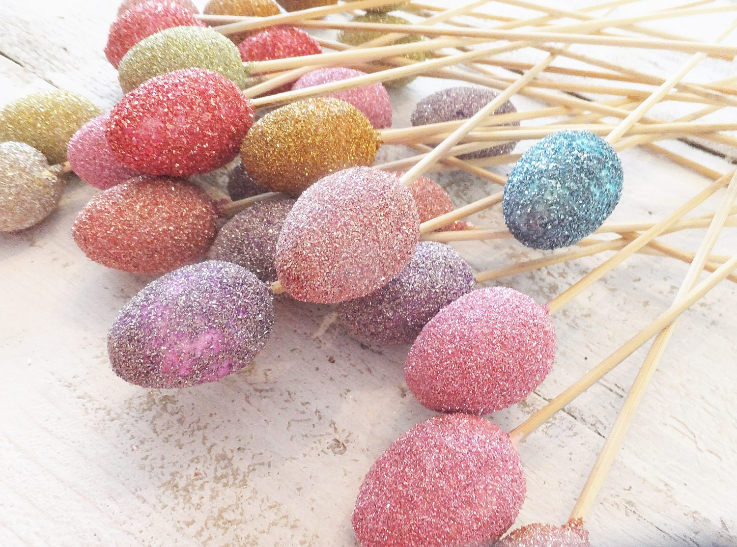 Spring Glitter Eggs ~ Lot of 24 ~ Wedding / Easter DIY  ~ Wreaths, Bouquets, Centerpieces, Baskets