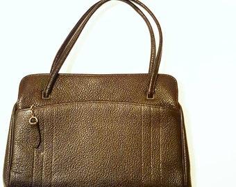 Vintage Leather Handbag   Brown Leather Purse   1950s Bag w/ Coin Purse