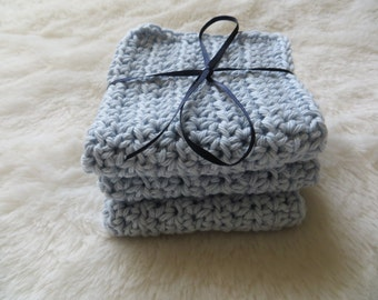 Crochet 100% cotton blue wash cloths or dishcloth, baby shower gift