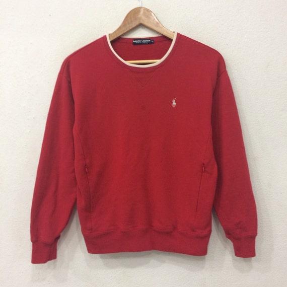 Sale rare!! Vintage POLO By Ralph Lauren Small pony Sweatshirt Red Colour Medium Size