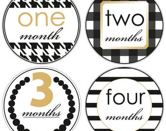 Baby Monthly Stickers | Girl month stickers | Baby month stickers | Photo Prop | Baby Shower gift | Baby Girl | Baby Chanel | baby album