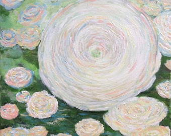 "Ranunculus Persian Buttercup floral painting original wall art room decor 12'x12"" in white & pastel colors with green"