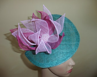Lily Pad Hat,Fascinator,Jade green and pink,Weddings,Ascot Races,Occasion Hat Fascinator