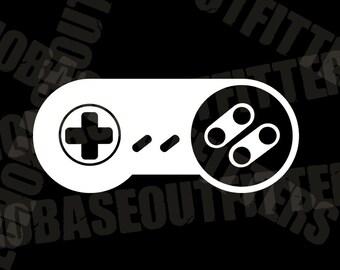 Super Nintendo vinyl cut decal, SNES controller