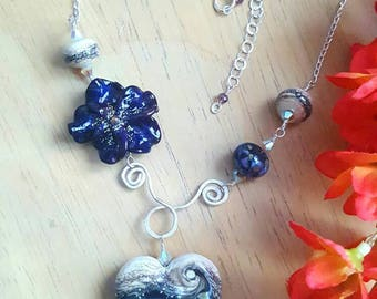 Heart and Flower Drop Necklace