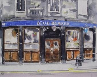 Edinburgh Pub Greeting Card - Blue Blazer