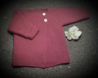 Hand knitted cardigan, in merino wool
