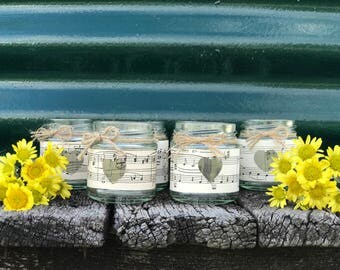 6 x Wedding Glass Candle Jars ~ Vintage Music Paper~Vintage/Rustic/Beach Weddings