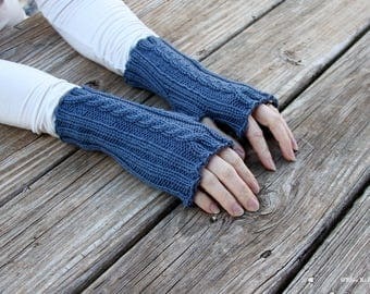 Hand knit fingerless gloves, rib and cable design, knitted cable arm warmers, blue knit fingerless mitts, 100% superwash wool