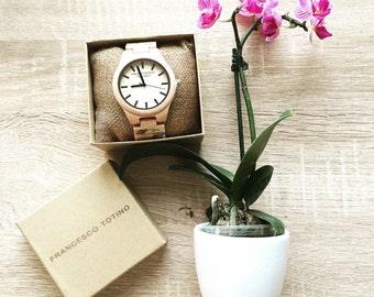 Flower wooden watch