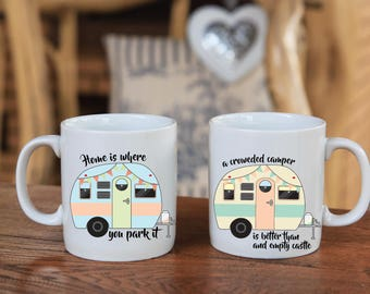 Happy Camper Coffee mugs / Vintage camper mugs / 15-ounce coffee mugs / Optional personalization