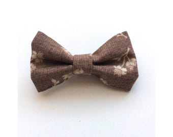 Brown Floral Mini Bow