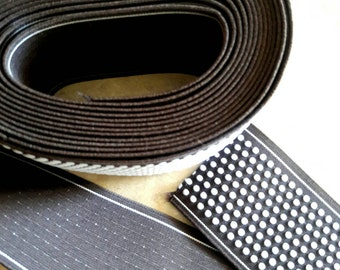 """3"""" wide x 3 3/4 yards, CHOCOLATE BROWN dotted  ELASTIC, garterized, colored garter, rubberized, garment attachment, white dot elastic"""