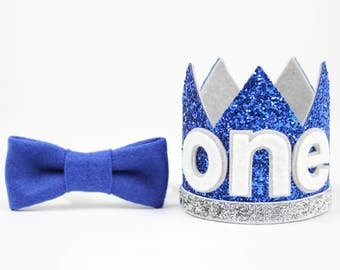 First Birthday Outfit Boy Crown | Baby Boy Birthday Party Hat | First Birthday Glitter Crown | 1st Birthday Hat | Royal Blue + Silver ONE