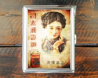 cigarette case vintage CHINESE poster wallet card money holder cigarettes box
