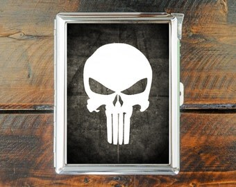cigarette case SUPER HEROES vintage style punisher wallet card money holder cigarettes box