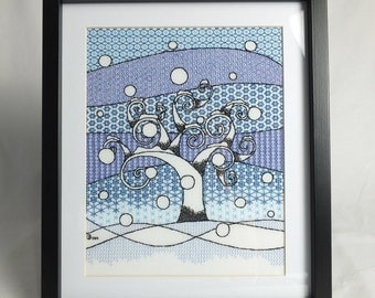 Winter Tree Blackwork Embroidery Kit