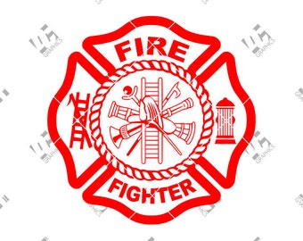 Fire Fighter - Fire Dept. Fireman Badge - Cutting File in SVG, EPS, DXF, and Studio3 - Cricut, Silhouette Cameo Studio- Instant Download
