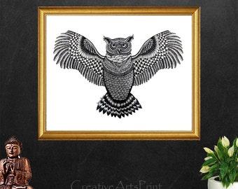 Owl Decor, Owl Print, Owl Ornament, Coloring, Owl Wall Decor, Owl Art, Owl Decoration, Owl Painting, Bird, Canvas Print, Digital Download