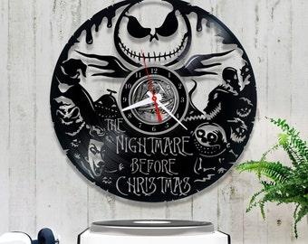 Nightmare before Christmas Vinyl Clock/Jack Skellington Clock 1/7/2/Vinyl Record Clock/Halloween Clock/Wall Vinyl Clock/Lp CLock