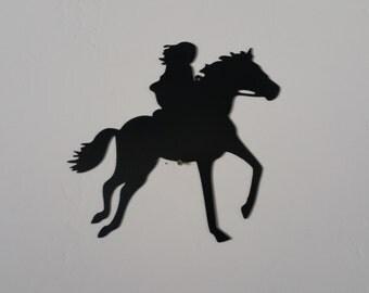 Girl riding horse metal art, girl riding horse wall decor, western decor, western metal art, western home decor