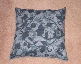 15x15 Blue Flower Decorative Pillow
