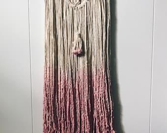 Spring//Handmade Blush Dip Dyed Wallhanging W/Tassel//Ready to Ship