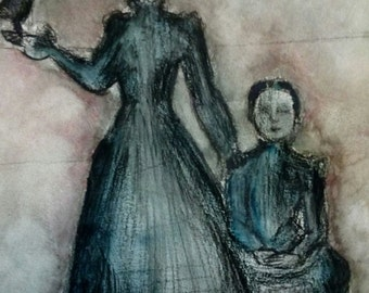 """Painting watercolor on canson """"Victorian witch"""" paintingvintage old witch woman"""