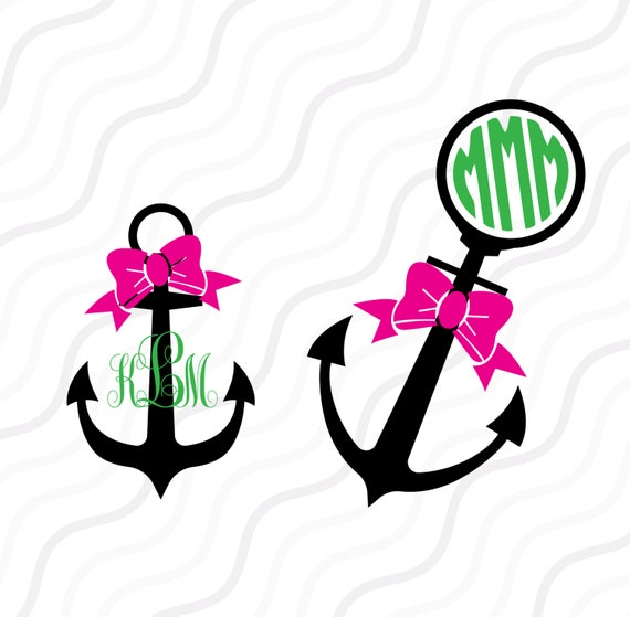 Anchor Bow SVG Anchor SVG Anchor Monogram SVG Cut Table