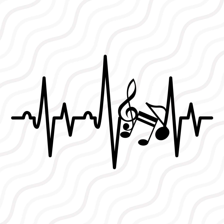 Music Note Heartbeat SVG Music Note SVG Heartbeat SVG Cut