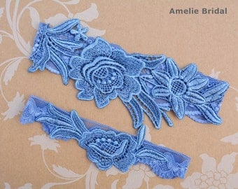 Something Blue Garter, Blue Lace Garter, Blue Wedding Gift, Garter Set Blue, Blue Garter Belt, Wedding Garter Vintage, Garters For Wedding