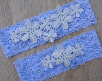 Bridal Garter Blue, Wedding Garter, Bridal Garter Set, Blue Garters, Garter Set, Wedding Clothing, Lace Garters, Wedding Gift, Bridal Gift