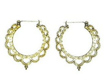 Brass India hoops with sterling silver posts