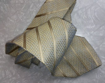 Valentino Silk Necktie, Gold and pale Blue brocade, vintage