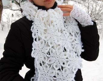 Women's Scarf Crochet White Scarf + Arm Warmers  Crocheted Women's Fingerless Mittens