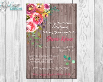 Floral/Wood Baby Shower Invitation