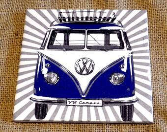 VW Camper Van Ceramic Tile Coaster
