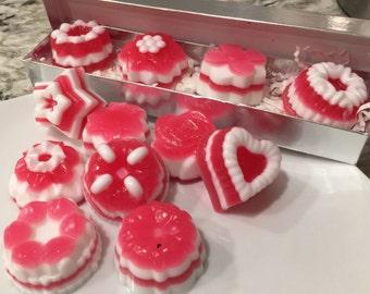 Handmade Set of 5 Vanilla peppermint cake soaps in gift box