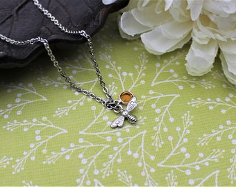Honey bee necklace, bee necklace, bee jewelry, tiny bee necklace, small silver bee, bee jewelry, honey bee jewelry, beekeeper gift