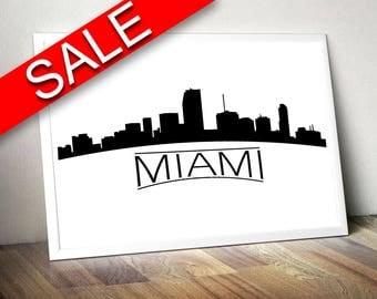 Wall Art Miami Skyline Digital Print Miami Skyline Poster Art Miami Skyline Wall Art Print Miami Skyline City Art Miami Skyline City Print