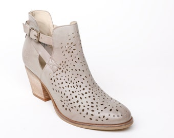 Womens Leather ankle boots grey SIZE 38 EU, leather high heel booties grey, laser cut decorated shoes grey, womens leather heeled boots boho