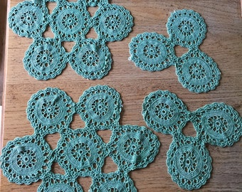 Doilies crocheted Vintage green satin handmade set of four, lamp mats, place mats, dressing table mats