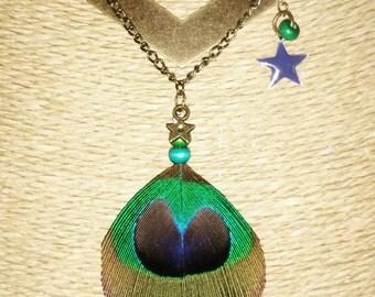 Necklace bronze ethnic chevron and pen