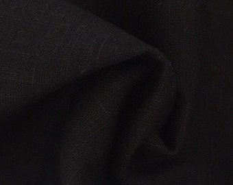 Linen fabric, uni, black-7214