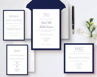 Classic modern suite, Printable wedding invitations, Navy blue wedding, Classic wedding invitations, Digital invitations, Wedding suite