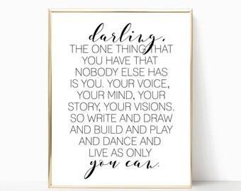 Live as only you can printable, printable wall art, wall decor, home decor, inspirational wall art, nursery print, nursery decor