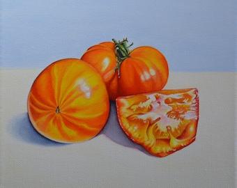 Orange Tomatoes - Orange tomatoes Still life painting - still life - Oil painting on canvas